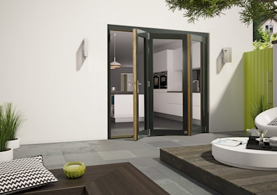 Aluminium Clad Grey External Folding Door Sets 2090 x 2390mm