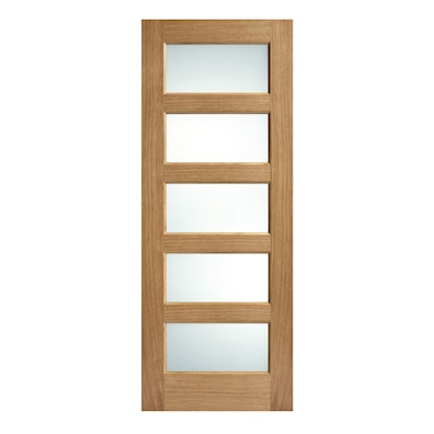 Contemporary Oak 5 Light Glazed Internal Door 1981x762mm