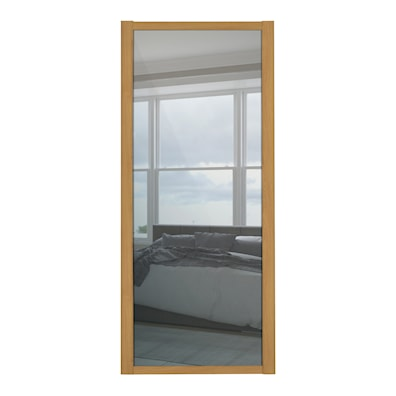 Shaker 610mm 1 Panel Mirror Sliding Door with Oak Frame