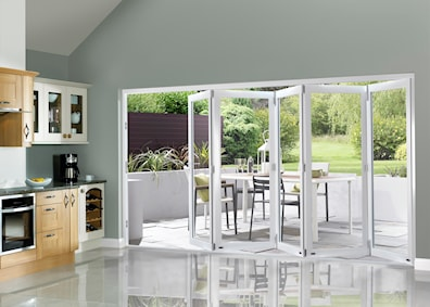 White Pre-finished External Folding Doors 2090 x 3590mm