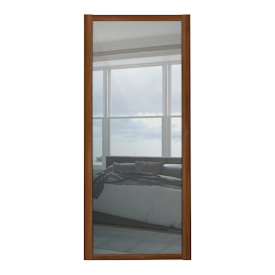 Shaker 610mm 1 Panel Mirror Sliding Door with Walnut Frame