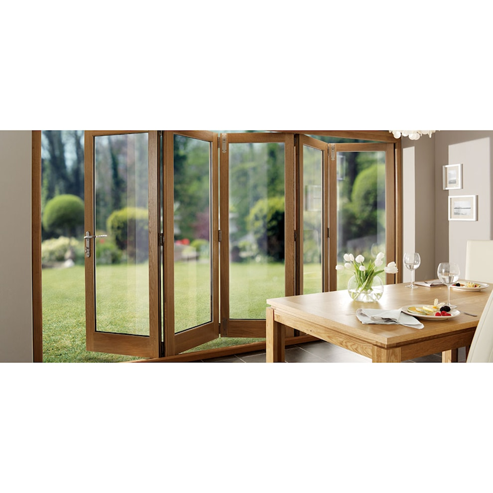 Solid oak pre finished external bifold doors 2090 x 1790mm for Solid patio doors