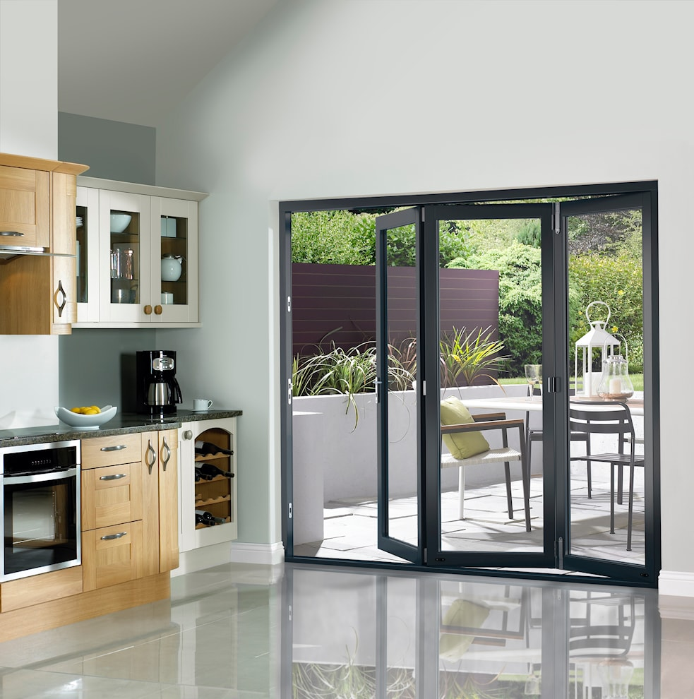 Grey pre finished external bifold doors 1790 x 2090mm for Upvc french doors 1790 x 2090mm