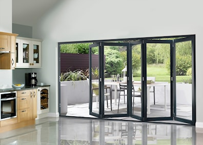 Grey Pre-finished External Folding Doors 2090 x 3590mm