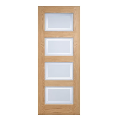 Contemporary Oak 4 Light Glazed Internal Door 2040x726mm