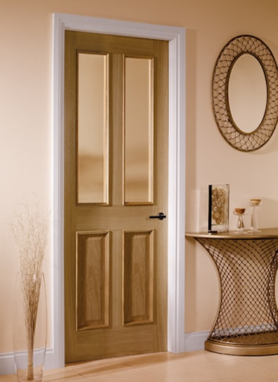 4 Panel Oak Glazed Internal Door 1981x762mm