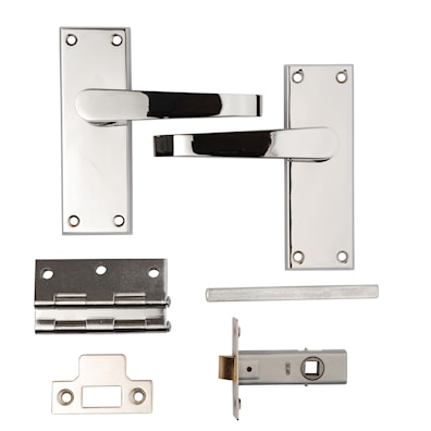 Victorian Flat Latch Lever Pack Polished Chrome Plated