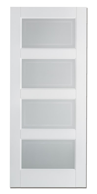 Contemporary 4 Light White Prime Glazed Internal Door 1981x610mm