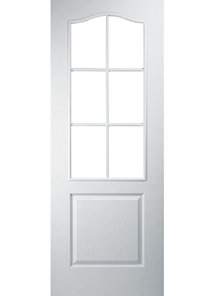 2 Panel 6 Light Arch Top Glazed Grained Internal Door