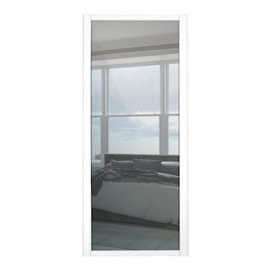 Shaker 610mm 1 Panel Mirror Sliding Door with White Frame