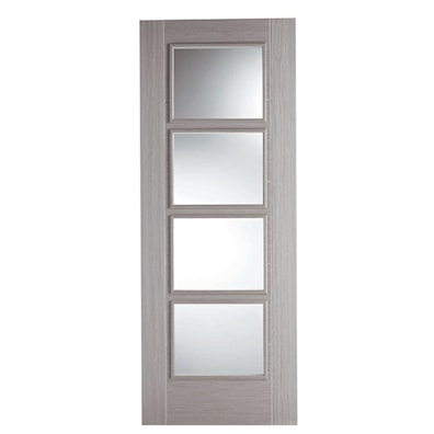 Vancouver Light Grey Oak 4 Light Glazed Internal Door 1981x838mm