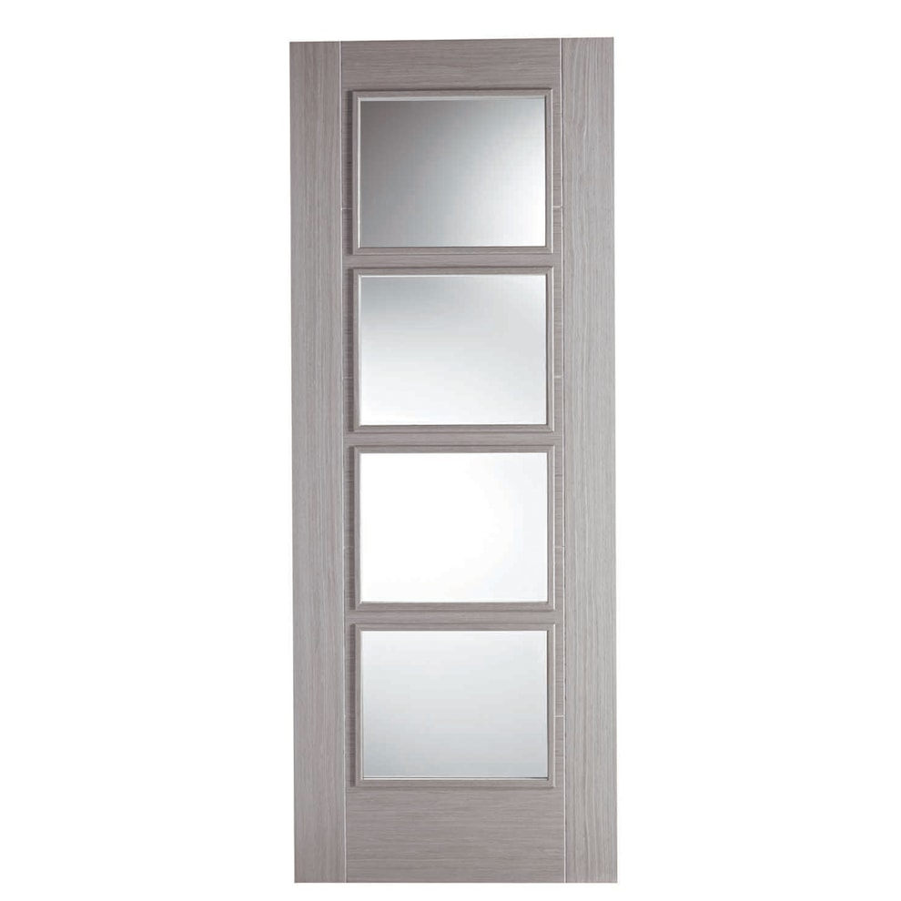 Vancouver light grey oak 4 light glazed internal door for Door with light