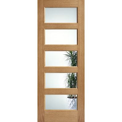 Contemporary Oak 5 Panel Glazed Internal Door 1981x838mm