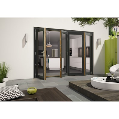Aluminium Clad Grey External Folding Door Sets 2090 x 4790mm