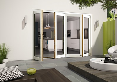 Aluminium Clad White External Folding Door Sets 2090 x 2990mm