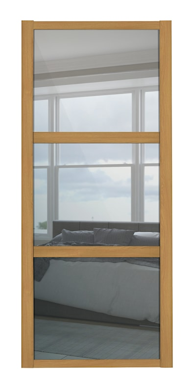 Shaker 762mm 3 Panel Mirror Sliding Door with Oak Frame