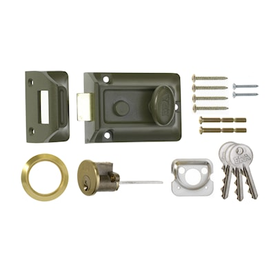 Traditional Door Lock 60mm Brass Cylinder Green Body 3 Keys