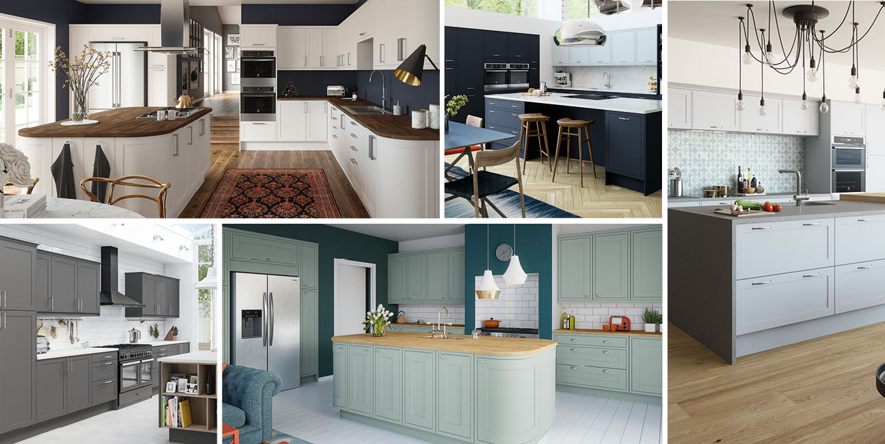 A selection of five fitted Magnet kitchens