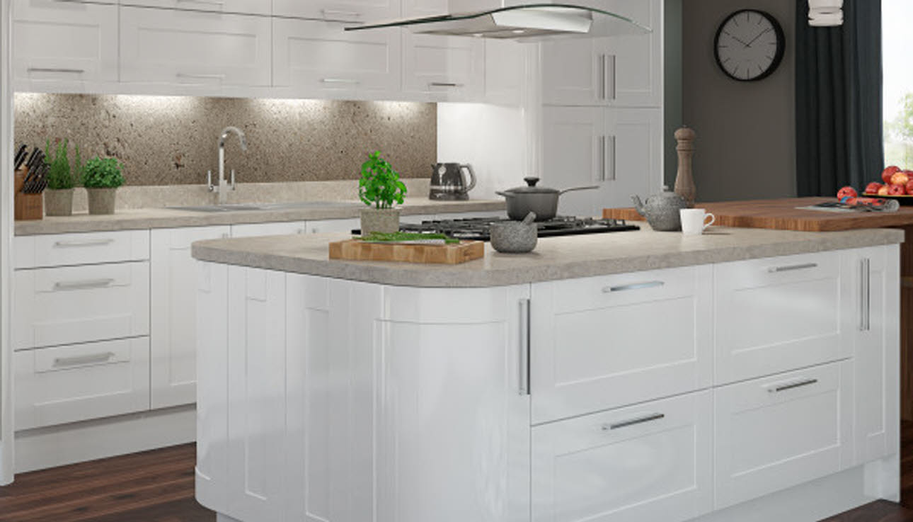 Leighton Gloss White shaker kitchen