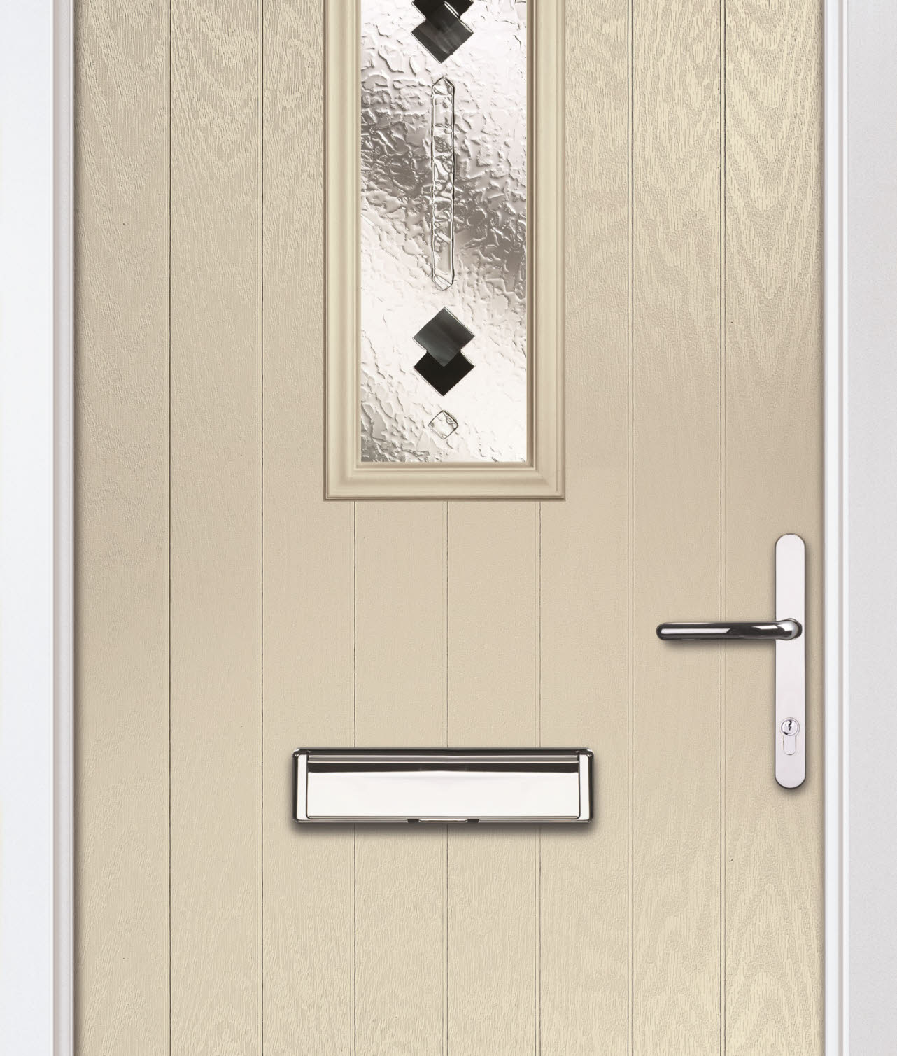 Close up of cream external door with frosted glass centre