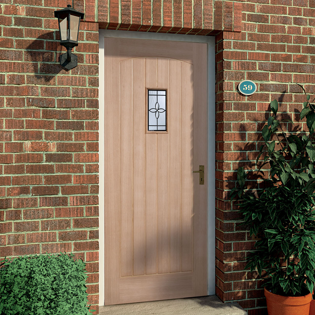 Wood external door, fitted in red brick house