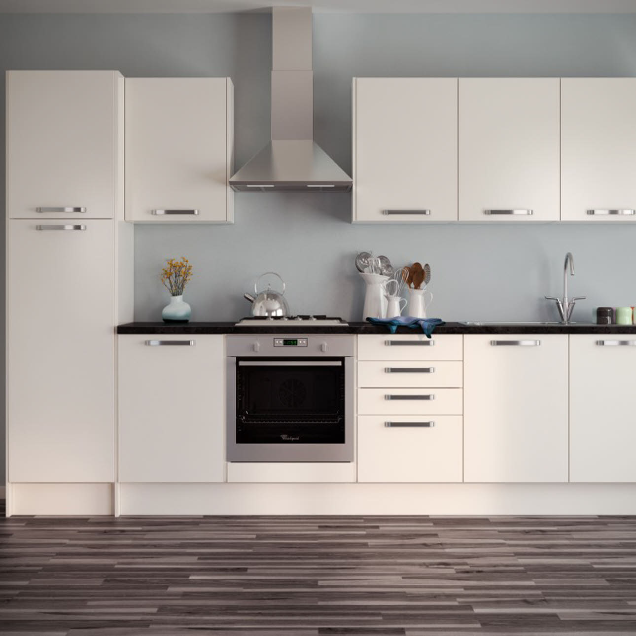 Strata Gloss Cream slab kitchen
