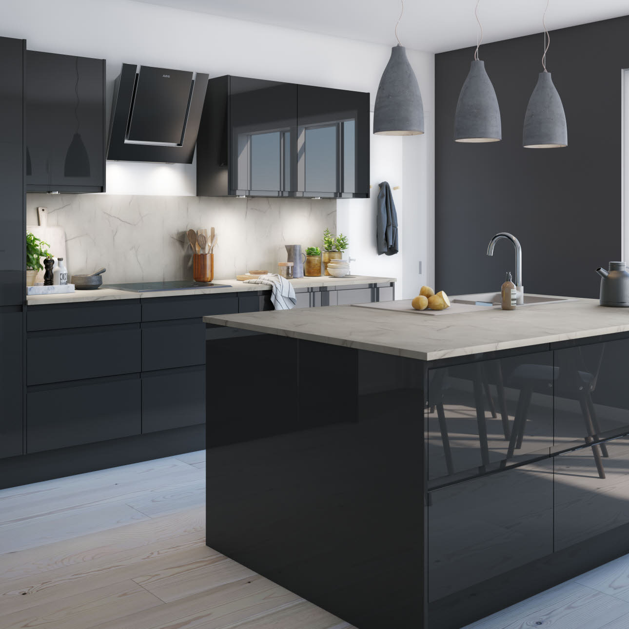Gloss White Kitchen Black Handles