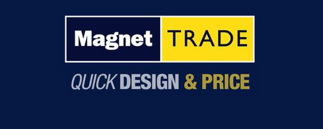 Magnet Trade Quick Design & Price, blue, white and yellow logo