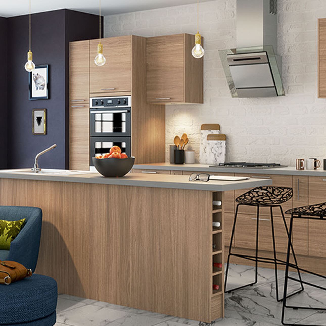 Alpine Oak textured slab kitchen