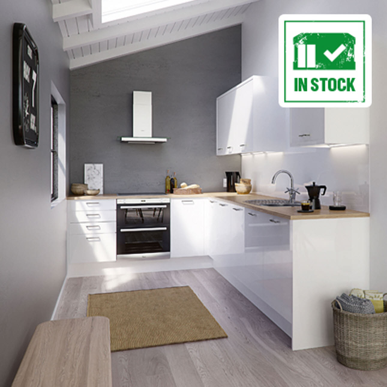Strata Gloss White Kitchen, in stock