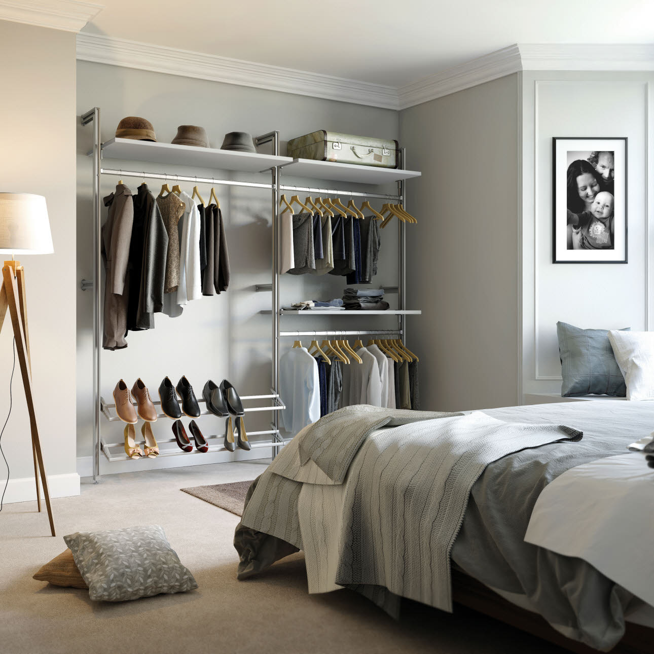 Bedroom shelving & clothes rail storage male clothing