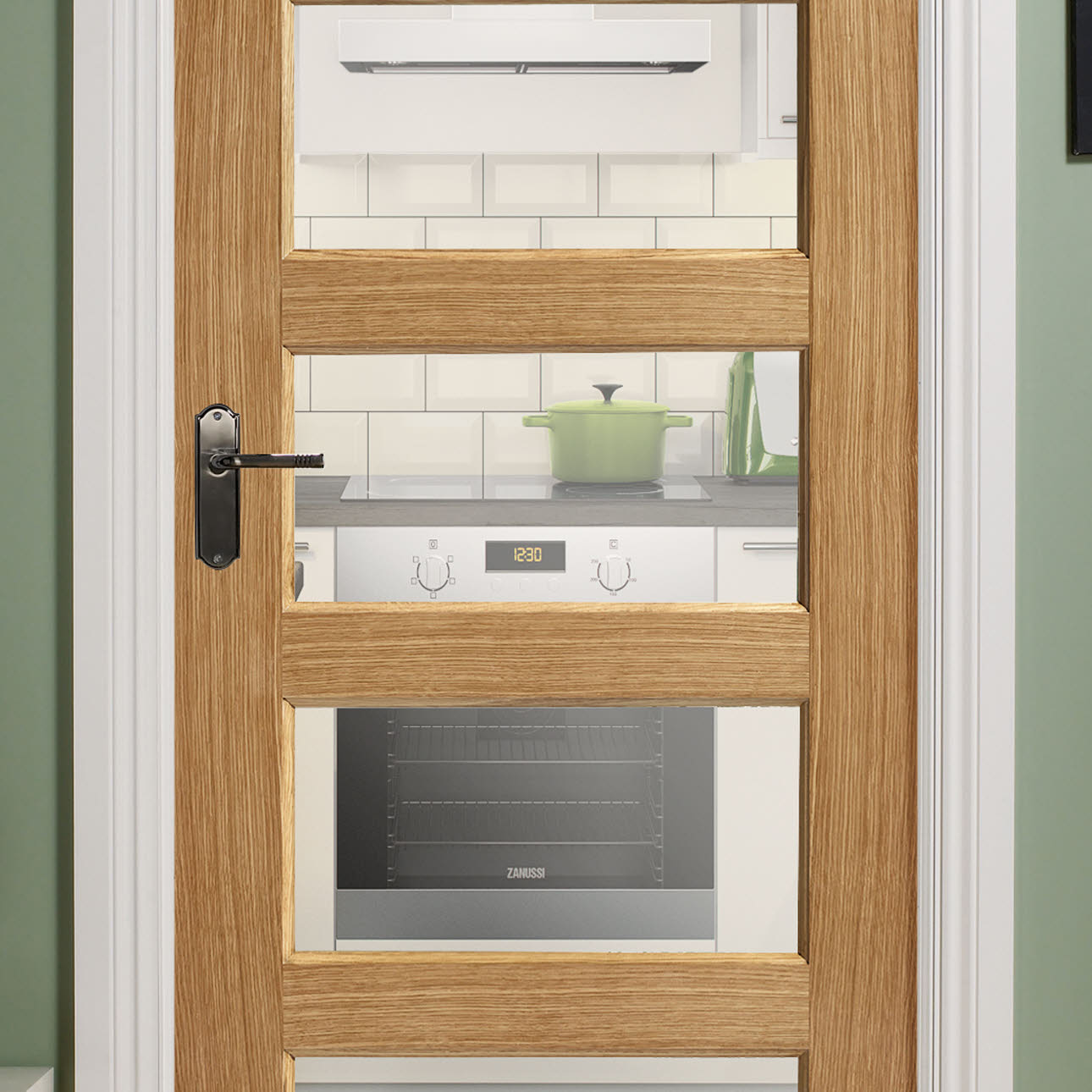 Contemporary oak 5 panel pre-glazed internal door