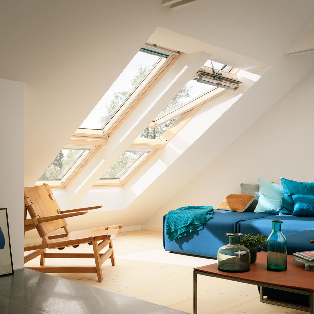Sloping combination of Velux windows installed in living room
