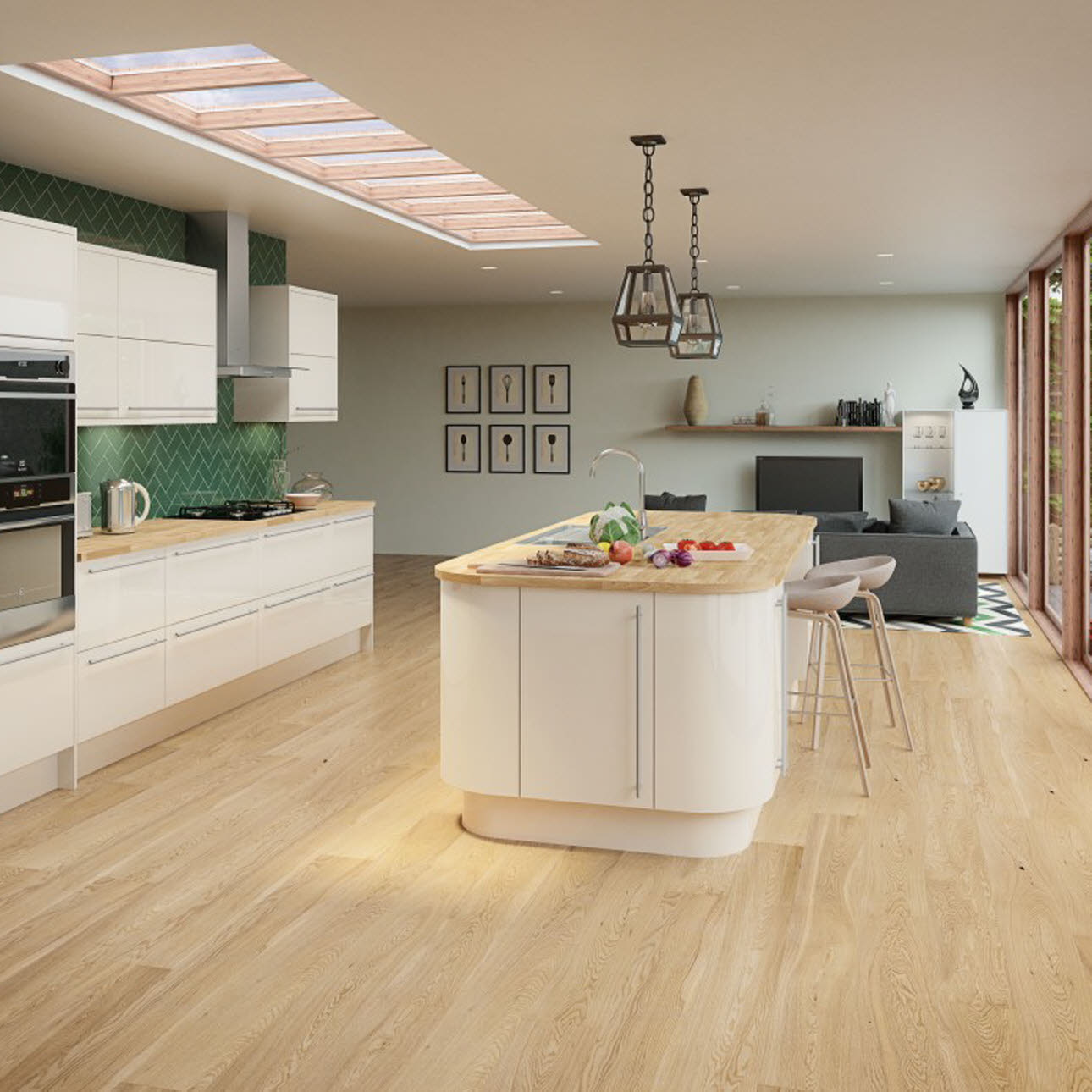 Studio Cream gloss slab kitchen