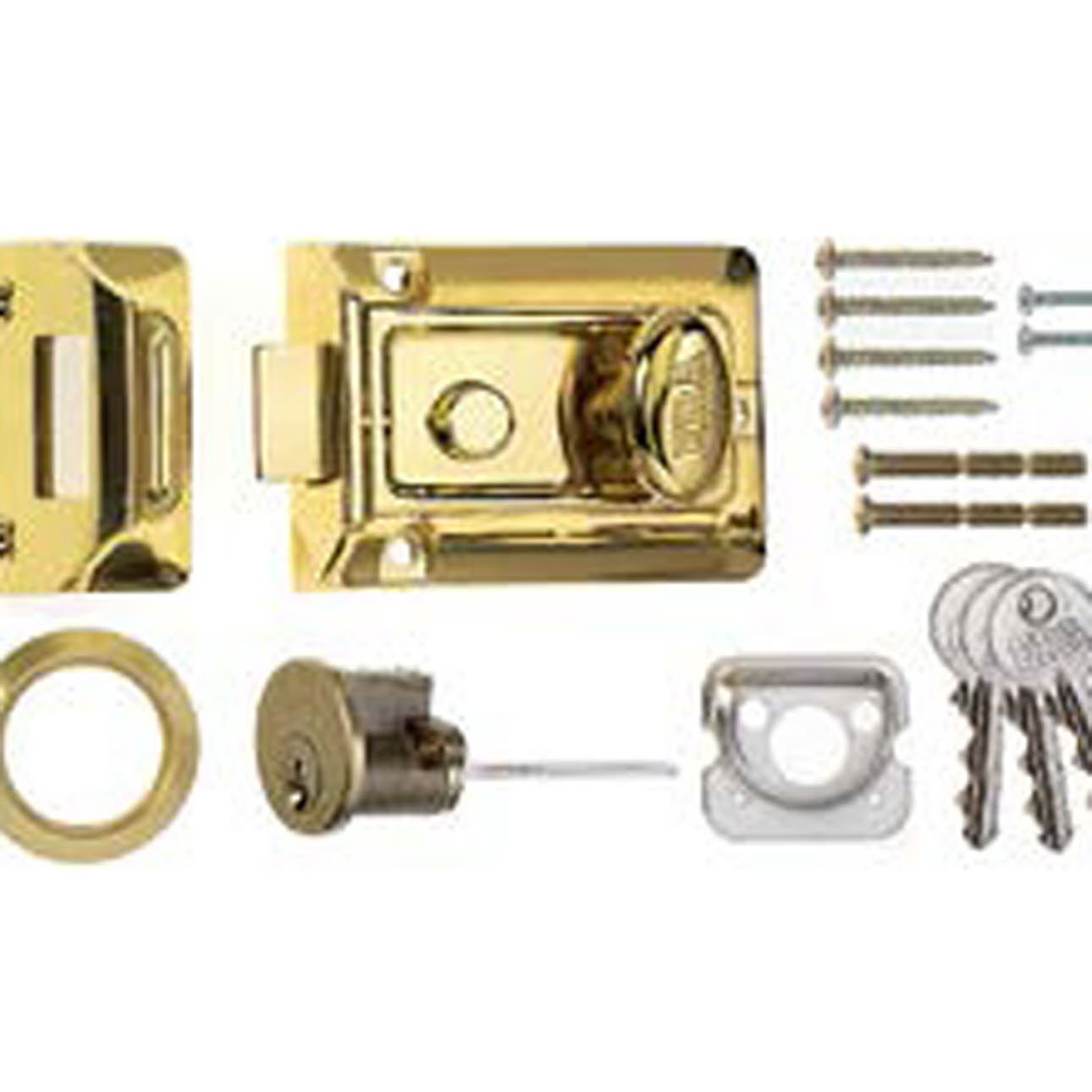 Close up of door latch and components