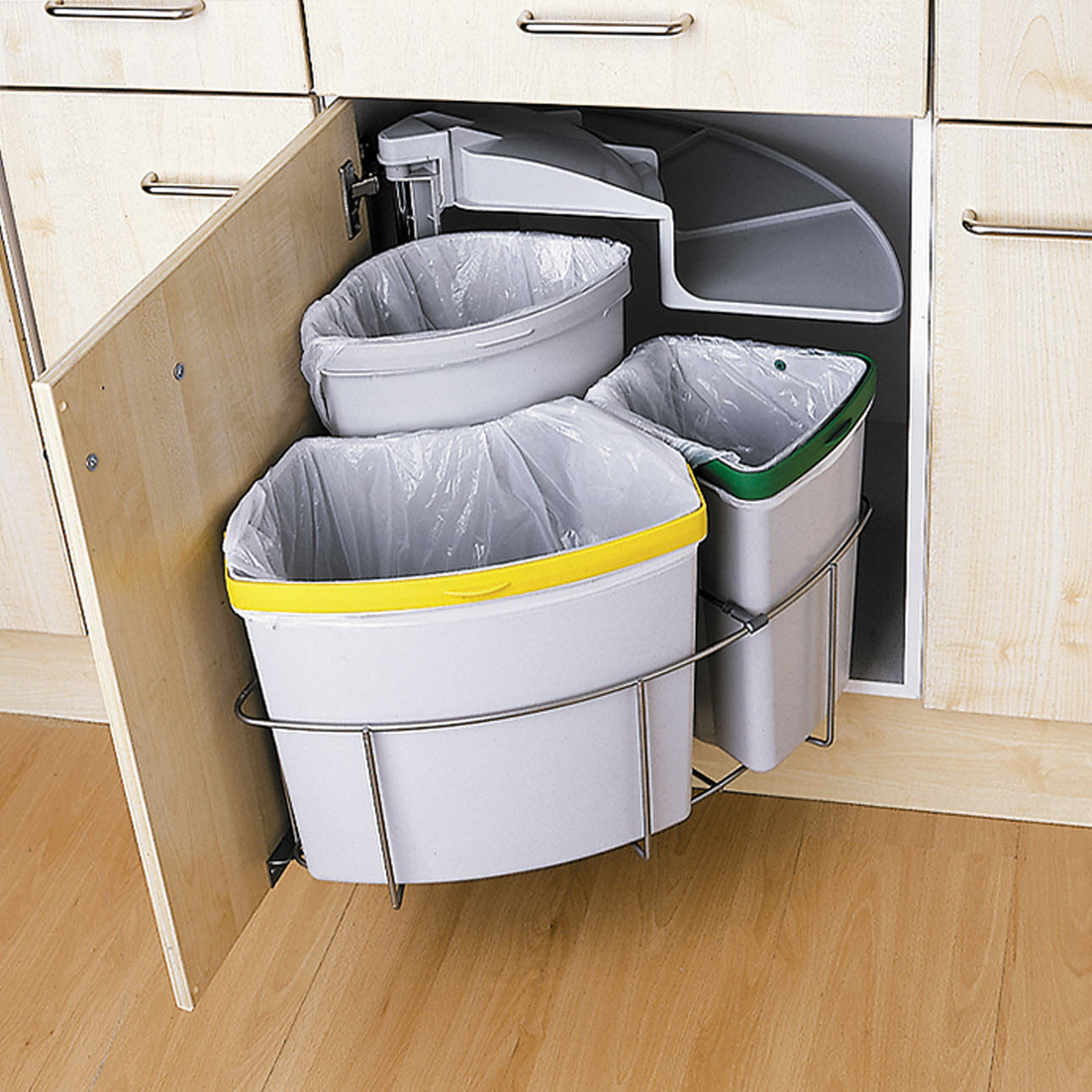 Magnet three part recycling bin
