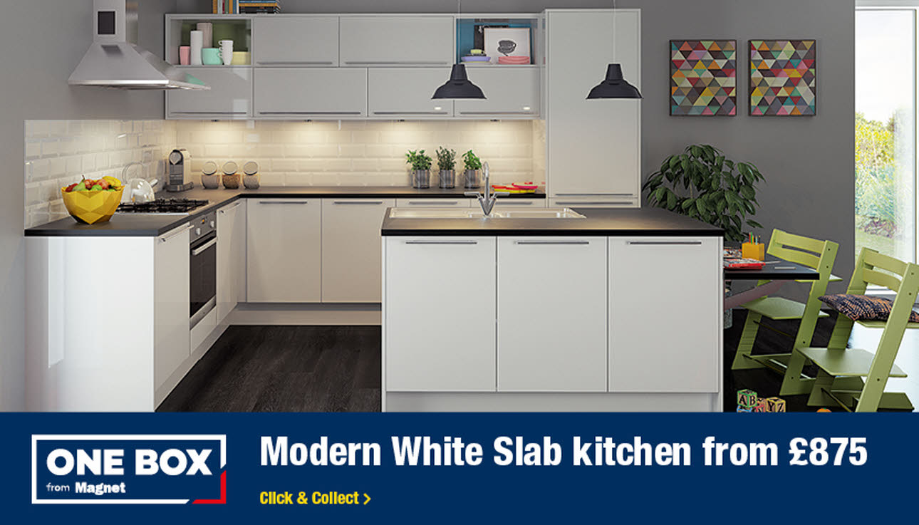 One Box Modern White Slab