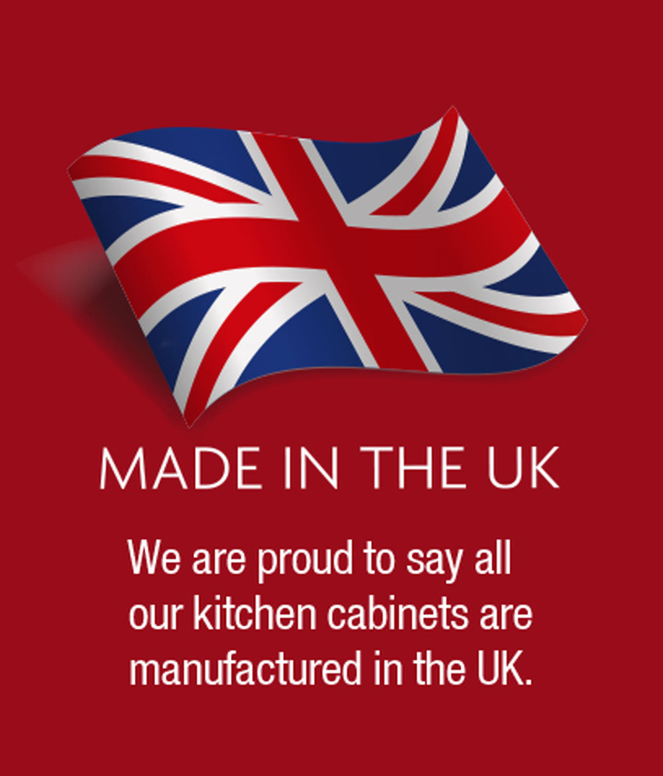 Magnet Ltd. Kitchen cabinets made in UK red logo, with union jack