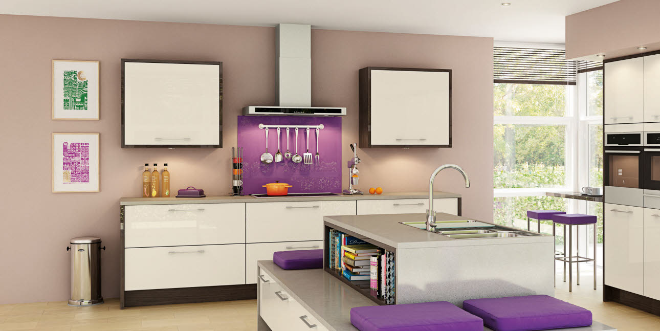 Purple splashback and hanging kitchen utensils above cream kitchen unit, grey worktop