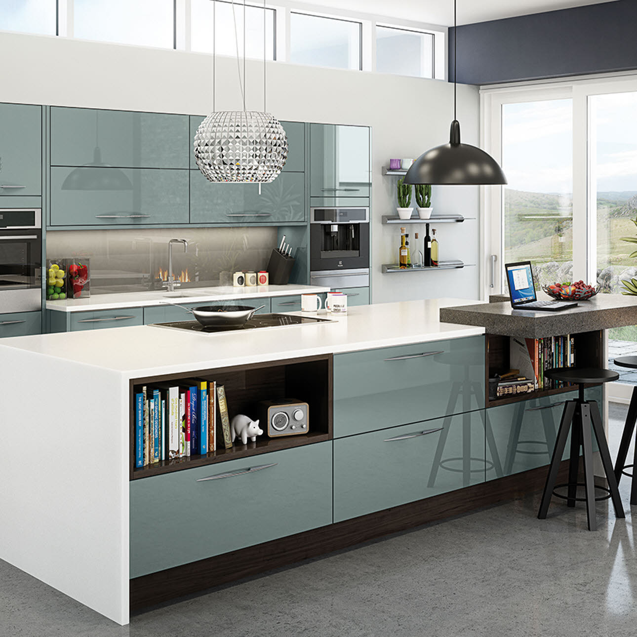 Fusion Blue fully installed kitchen