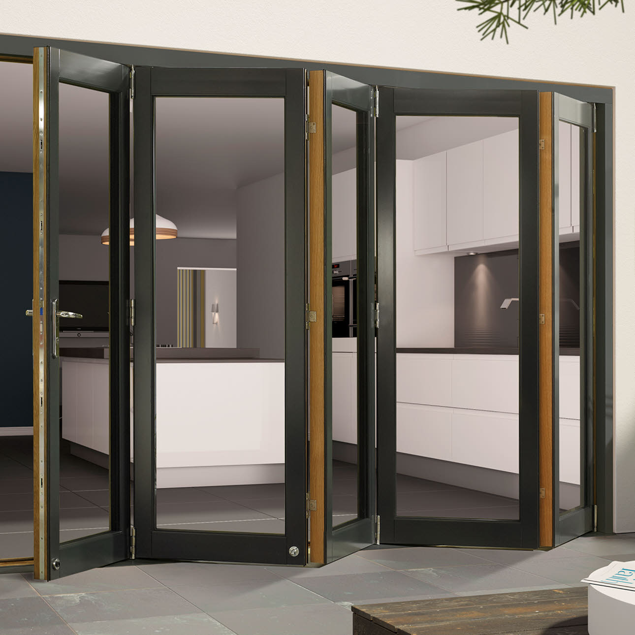 External aluminium clad folding doors