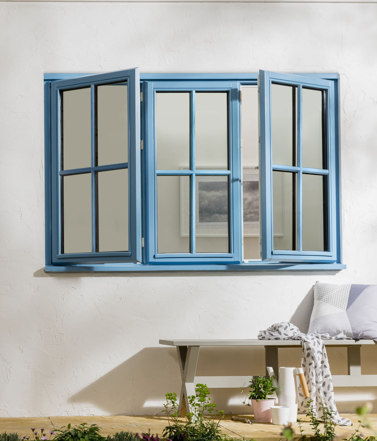 JELD-WEN Stormsure Energy Cottage Bar, Pastel Blue Timber Window