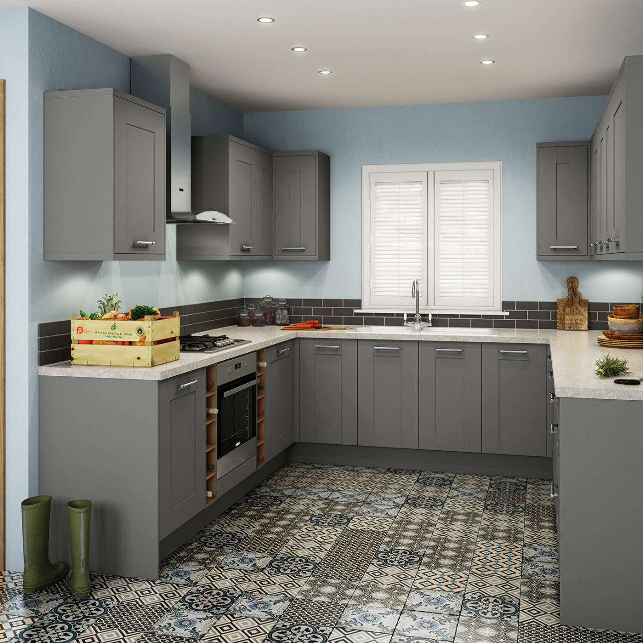 Newbury grey kitchen style range magnet trade for Pictures of gray kitchens