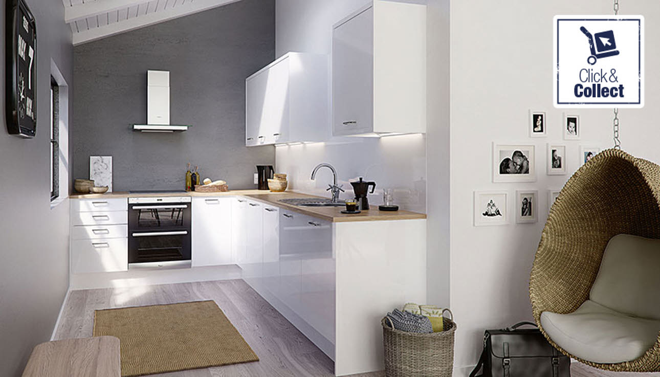Gloss white Strata kitchen, available for click & collect