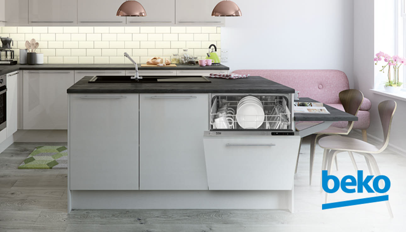 Open Beko Dishwasher in Kitchen Island