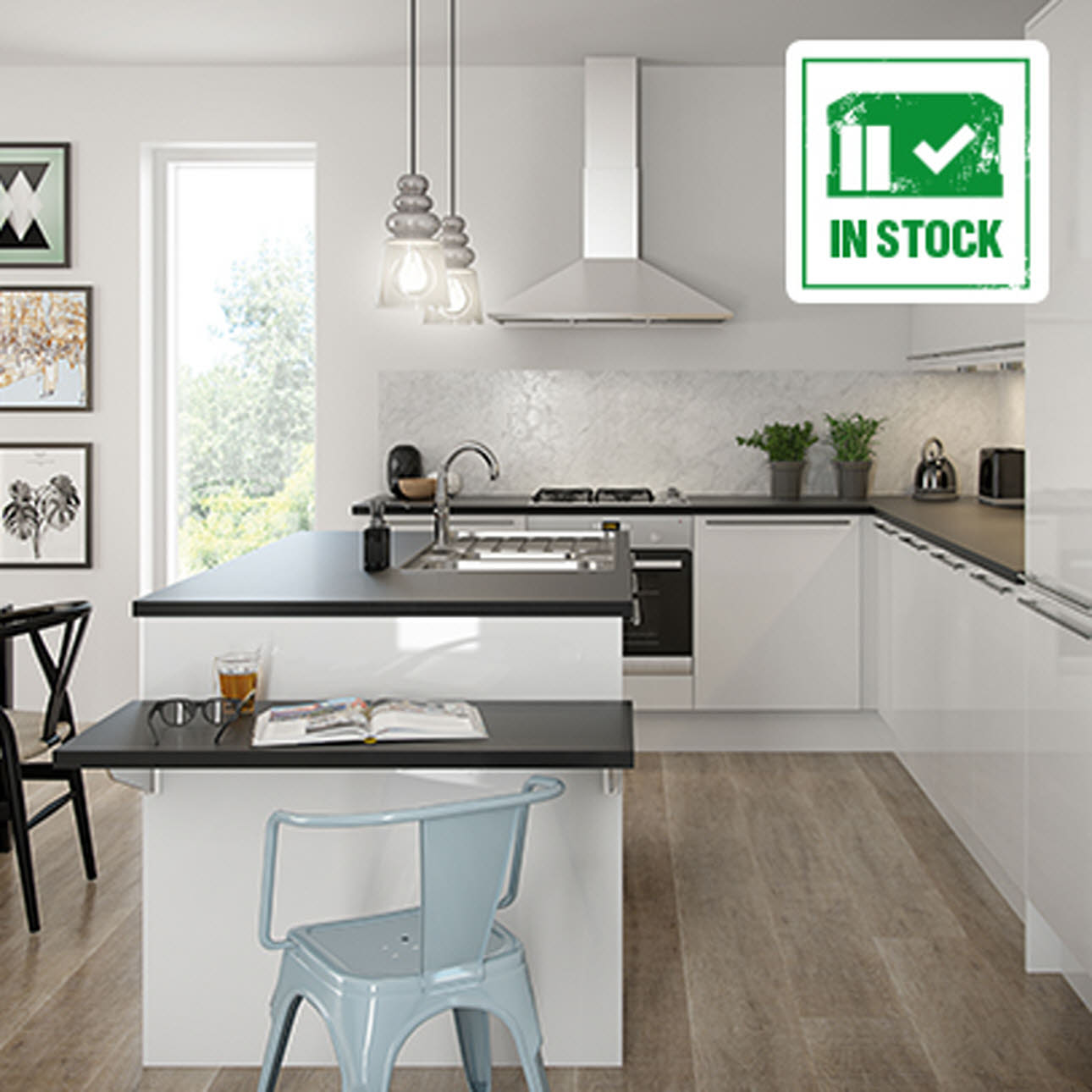 Novella White kitchen, black granite worktops, In Stock