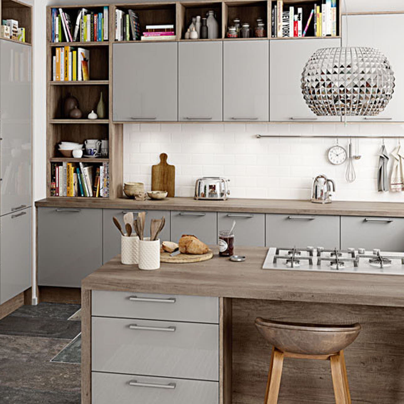 Studio Grey gloss slab kitchen