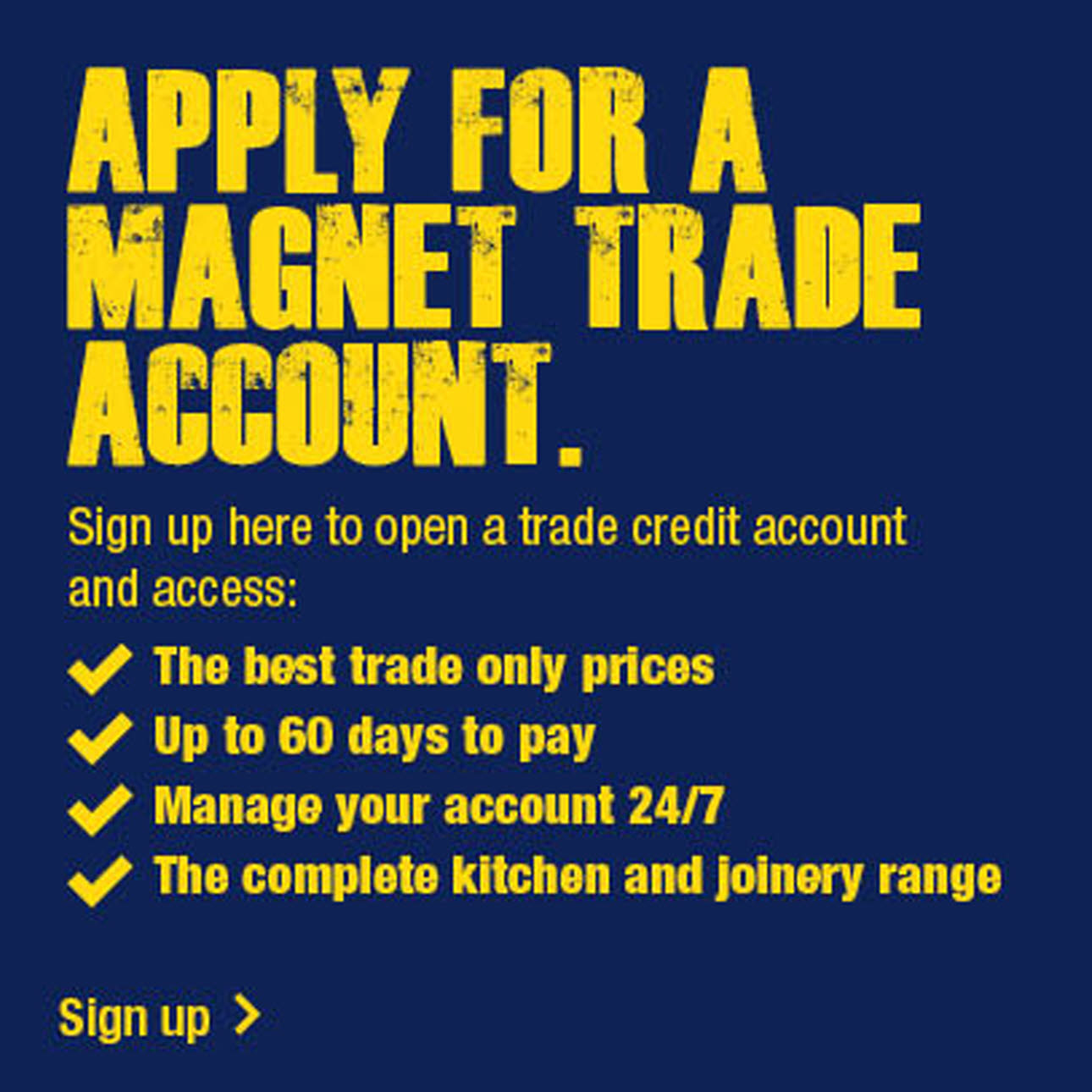 The four steps to sign up to become a Magnet Trade Account Holder, blue and yellow logo