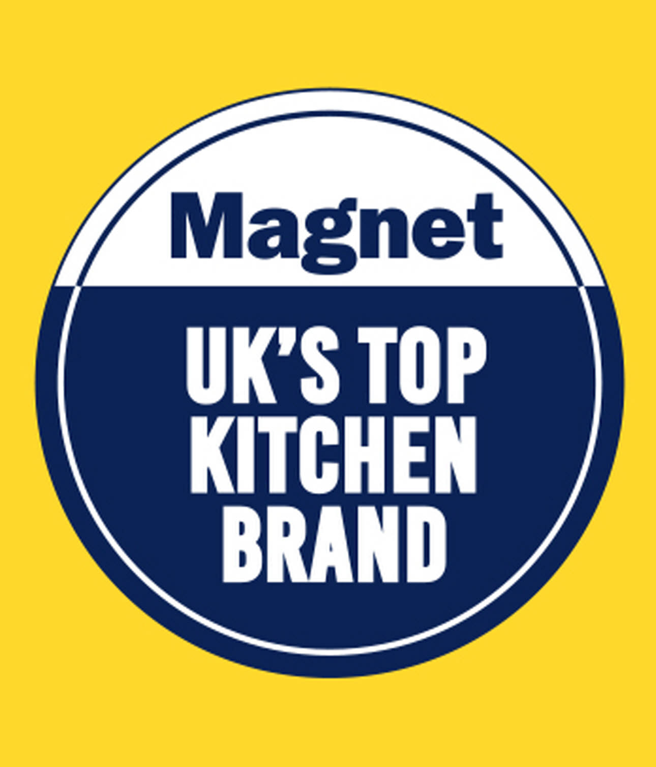 Magnet, UK's top kitchen brand blue and yellow logo