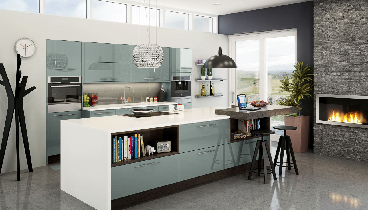 Blue kitchen units with island and single black oven in unit